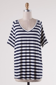 Double Zero Navy Stripes Comfy-Tee - Product List Image