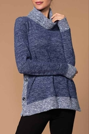 Elena Wang  Navy Sweater with Scarf Neck - Product Mini Image