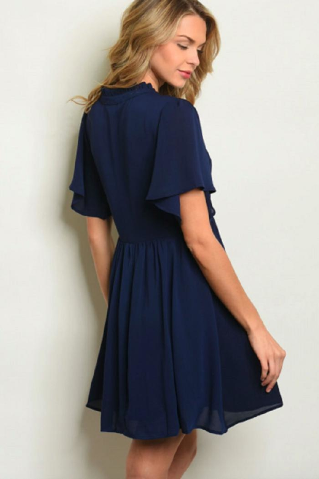 LoveRiche Navy Swing Dress - Front Full Image