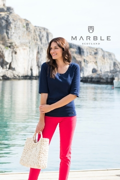 Marble Navy t shirt with gummetal  dots - Alternate List Image
