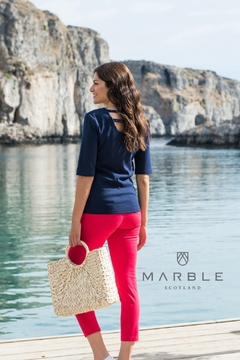 Marble Navy t shirt with gummetal  dots - Product List Image