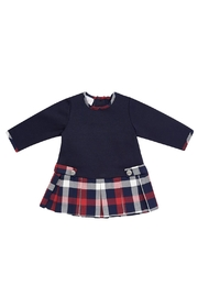 Paz Rodriguez Navy Tartan Dress - Front cropped