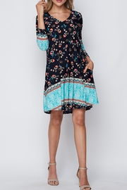 honeyme Navy Teal Dress - Front cropped