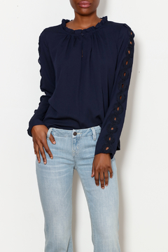 Shoptiques Product: Navy Top with Sleeve Applique