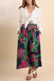 Umgee USA Navy Tropical-Print Gaucho-Pant - Product Mini Image