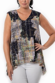 Bali Corp. Navy Tunic w/ Overlay Top - Front cropped