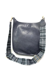 Ah!dorned Navy Vegan Messenger w Plaid Strap - Front cropped