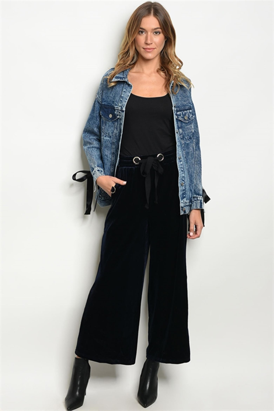 Very J Navy Velevet Pant - Front Cropped Image