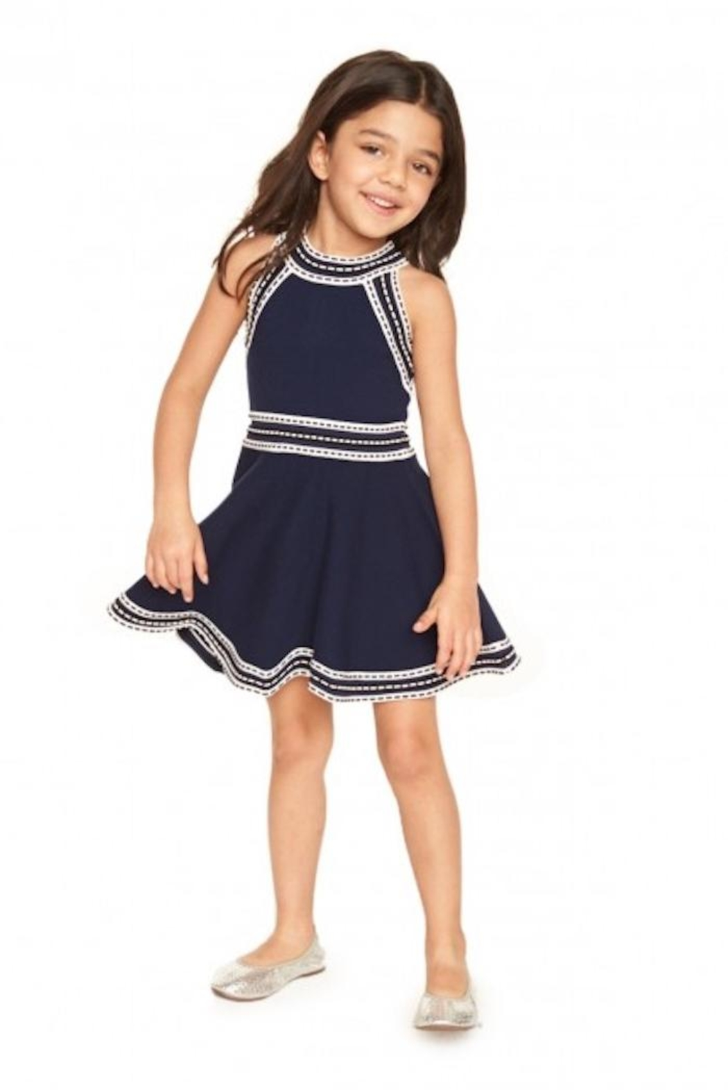 Milly Minis Navy White Dress - Main Image