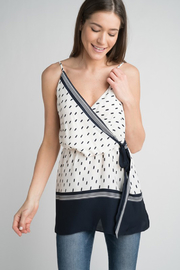 Esley Navy & White Faux Wrap Tank Top with Side Tie - Product Mini Image