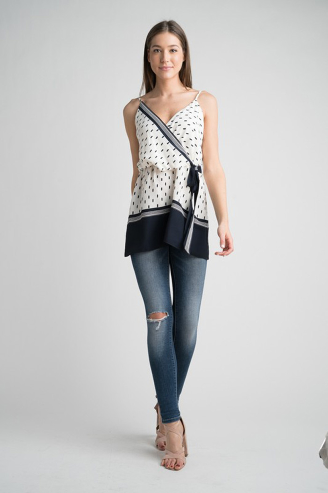 Esley Navy & White Faux Wrap Tank Top with Side Tie - Front Full Image