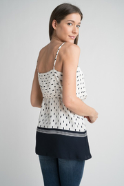 Esley Navy & White Faux Wrap Tank Top with Side Tie - Other