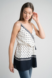 Esley Navy & White Faux Wrap Tank Top with Side Tie - Back cropped