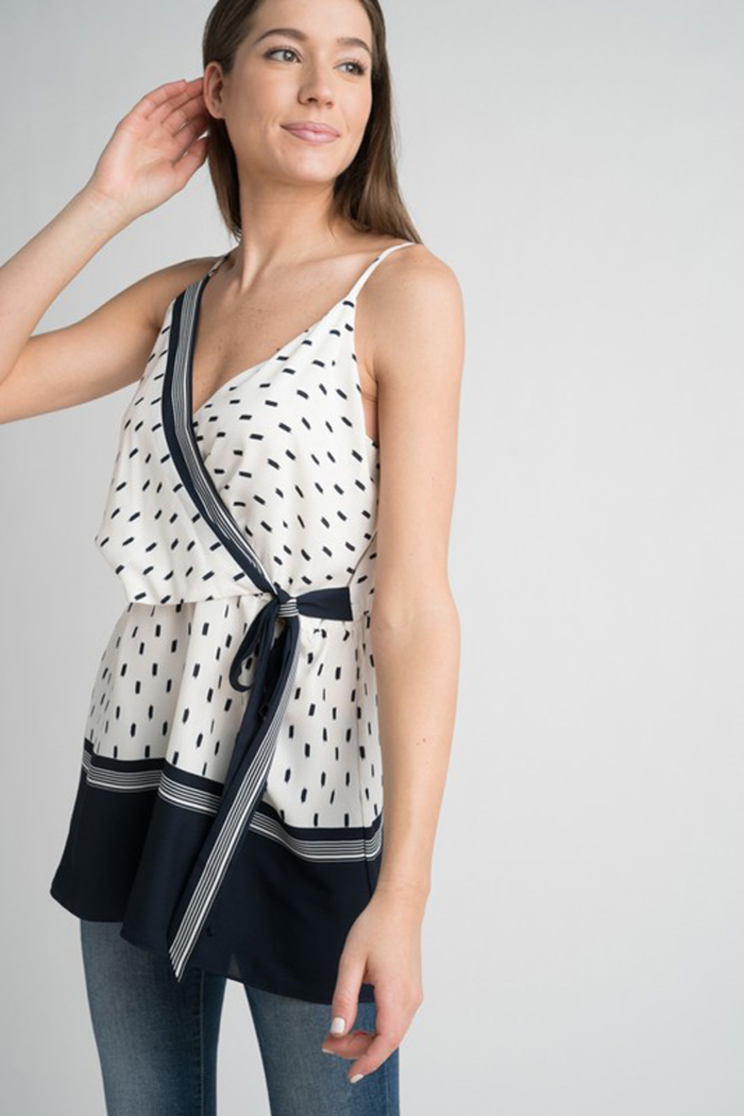 Esley Navy & White Faux Wrap Tank Top with Side Tie - Side Cropped Image