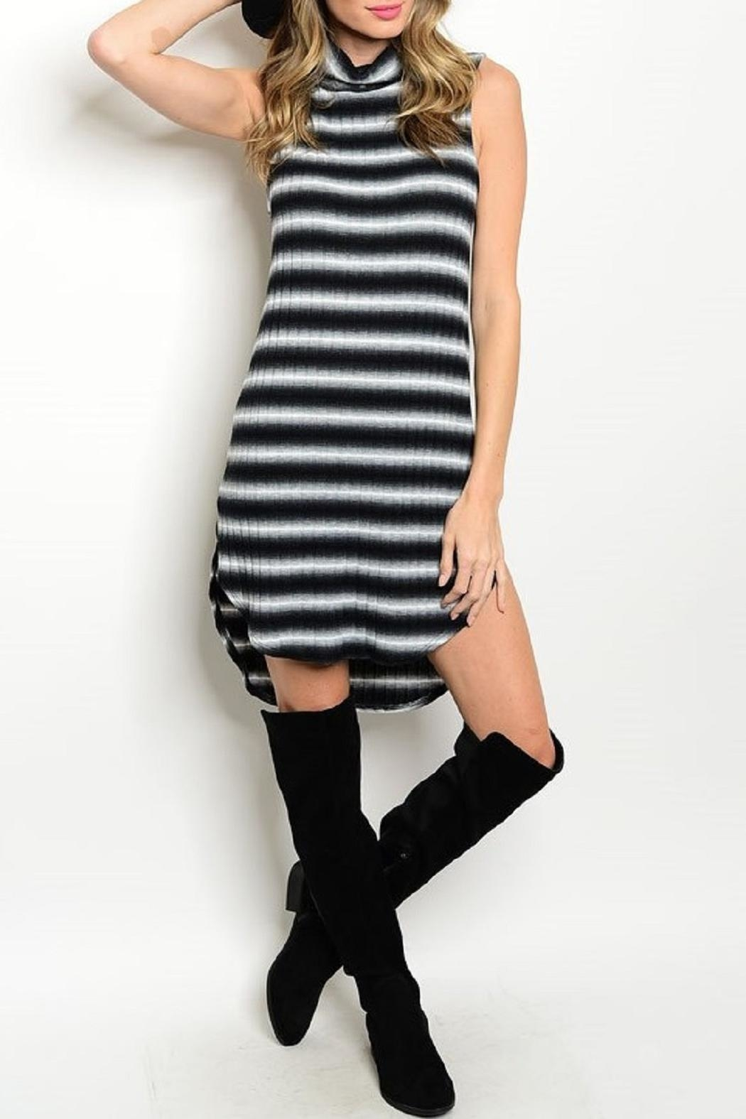 Adore Clothes & More Navy White Striped Dress - Front Cropped Image