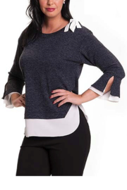 Bali Corp. Navy White Sweater Top - Product Mini Image