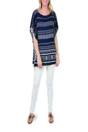 Top It Off Navy White Tunic - Product Mini Image