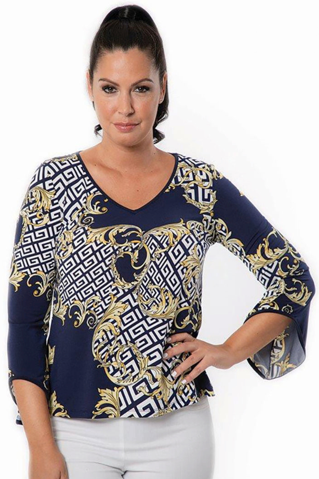 Bali Corp.  Navy Yellow 3/4 Sleeve Blouse Top - Main Image