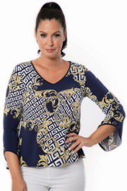 Bali Corp.  Navy Yellow 3/4 Sleeve Blouse Top - Front cropped