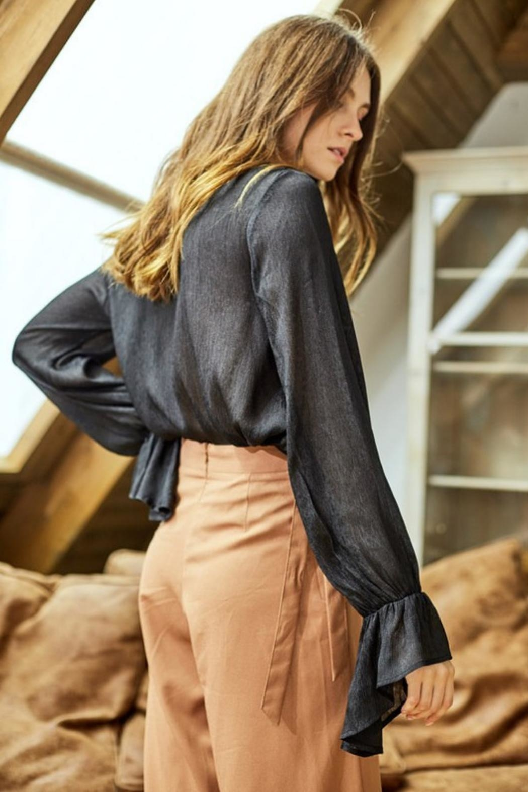 Charme U Neck Tie Blouse - Side Cropped Image