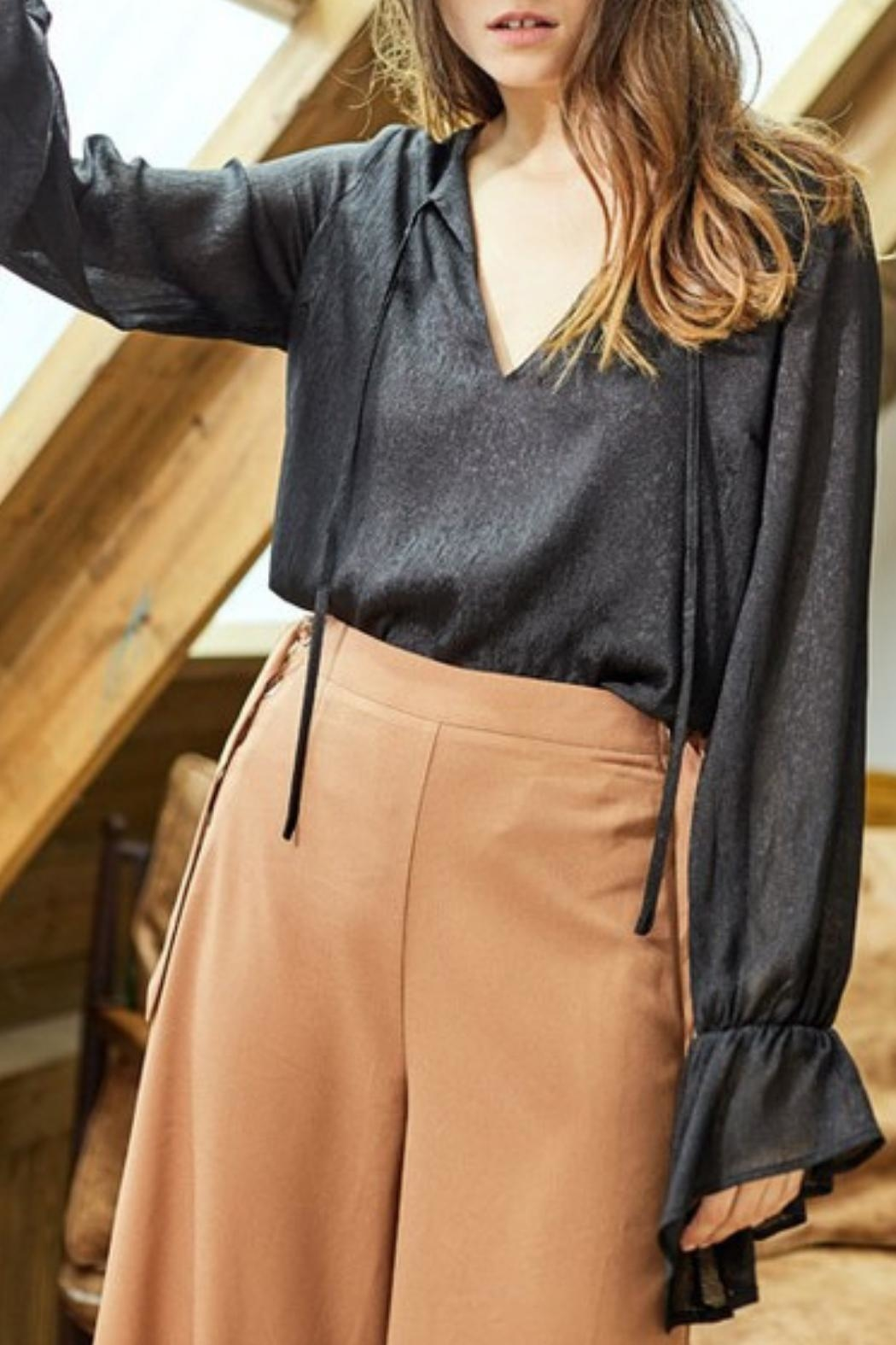 Charme U Neck Tie Blouse - Front Full Image