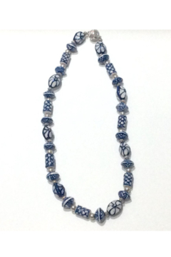 DiJore Necklace-Delft pattern hand painted porcelain and silver beads - Product List Image