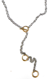 LJ Sonder  Necklace with Adjustable mixed metal toggle necklace, multiple ways to wear - Product Mini Image