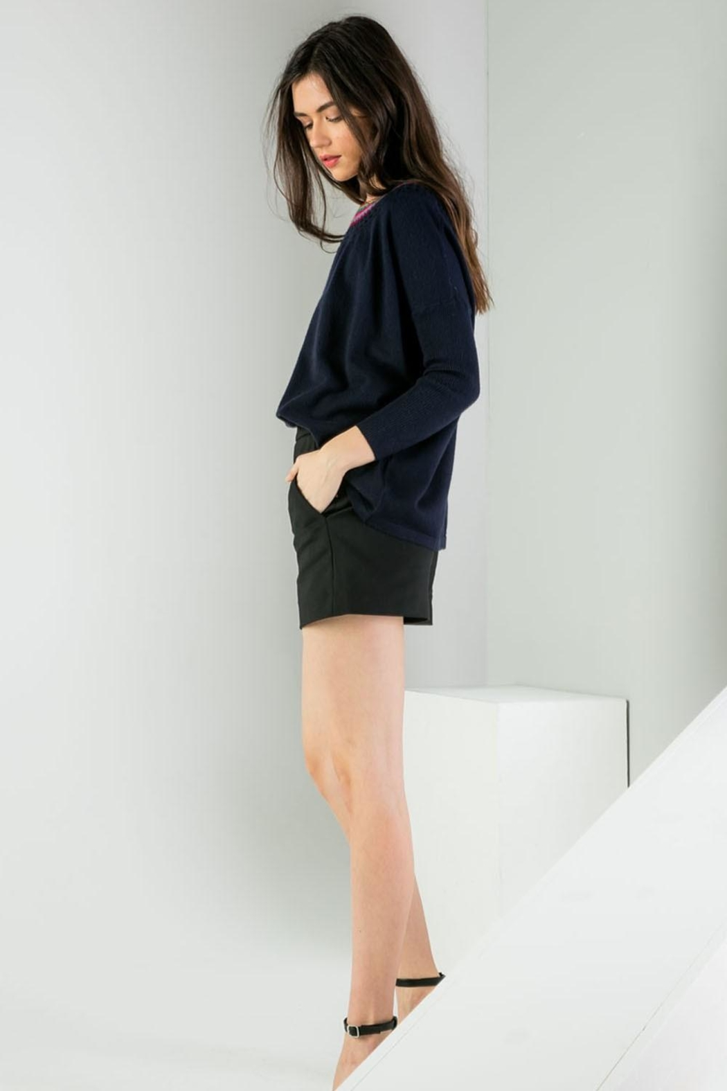 THML Clothing Neckline Detail Sweater - Side Cropped Image