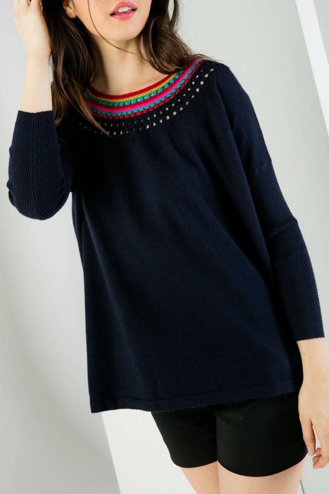 THML Clothing Neckline Detail Sweater - Front Full Image