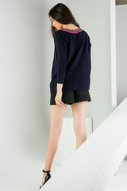 THML Clothing Neckline Detail Sweater - Back cropped