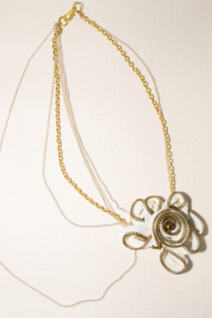 Handmade by CA artist White/Gold Flower Zipper Necklace with Chains - Alternate List Image