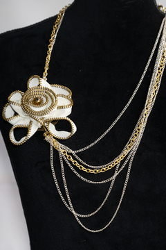 Handmade by CA artist White/Gold Flower Zipper Necklace with Chains - Product List Image