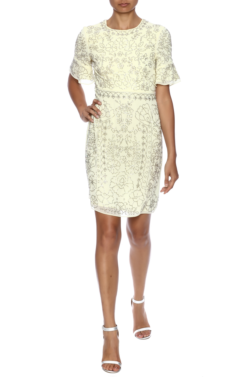 Needle Thread Georgette Sequin Sheath Dress Front Full Image