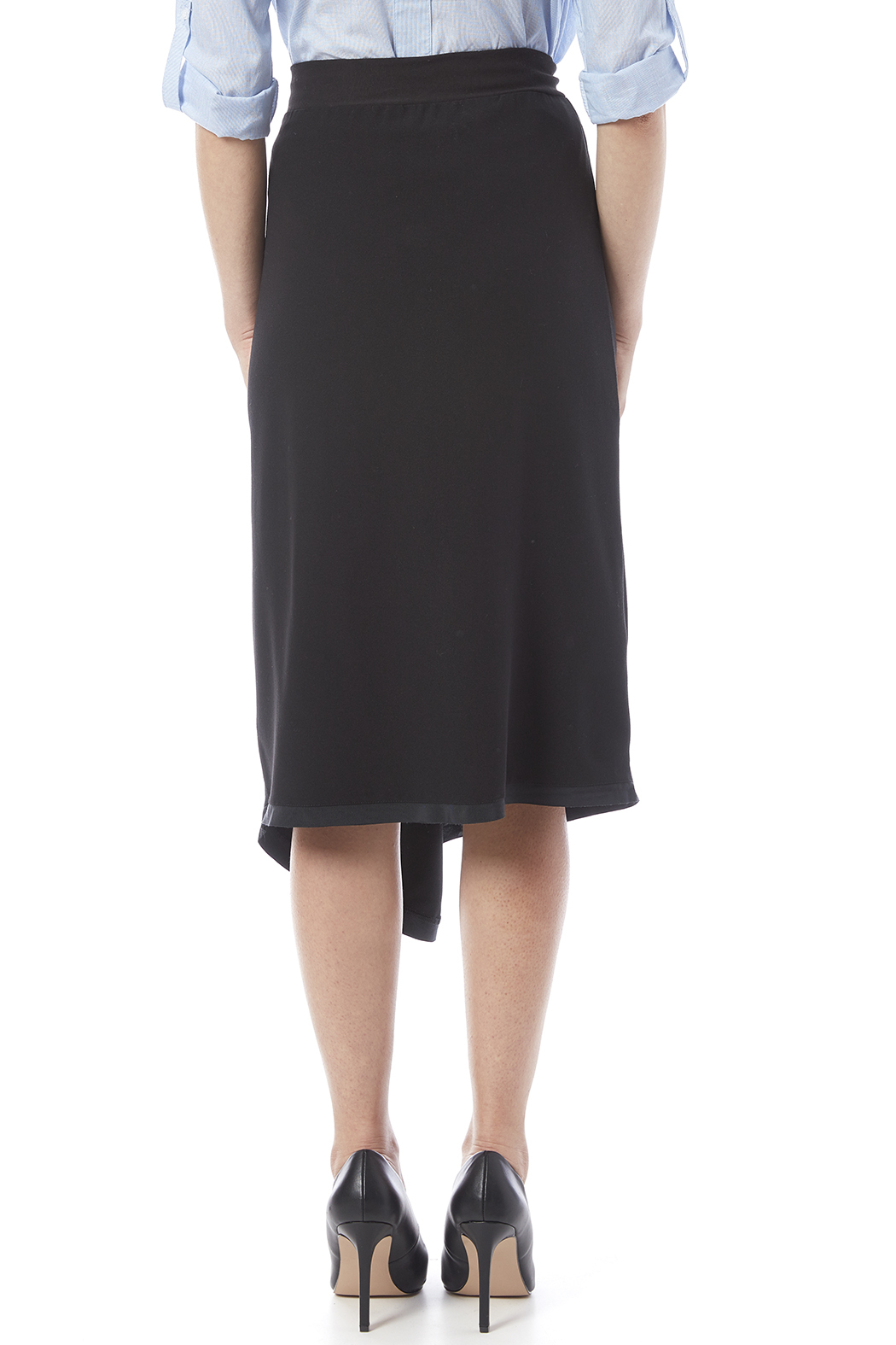 Neesh by D.A.R. Asymmetrical Midi Skirt - Back Cropped Image