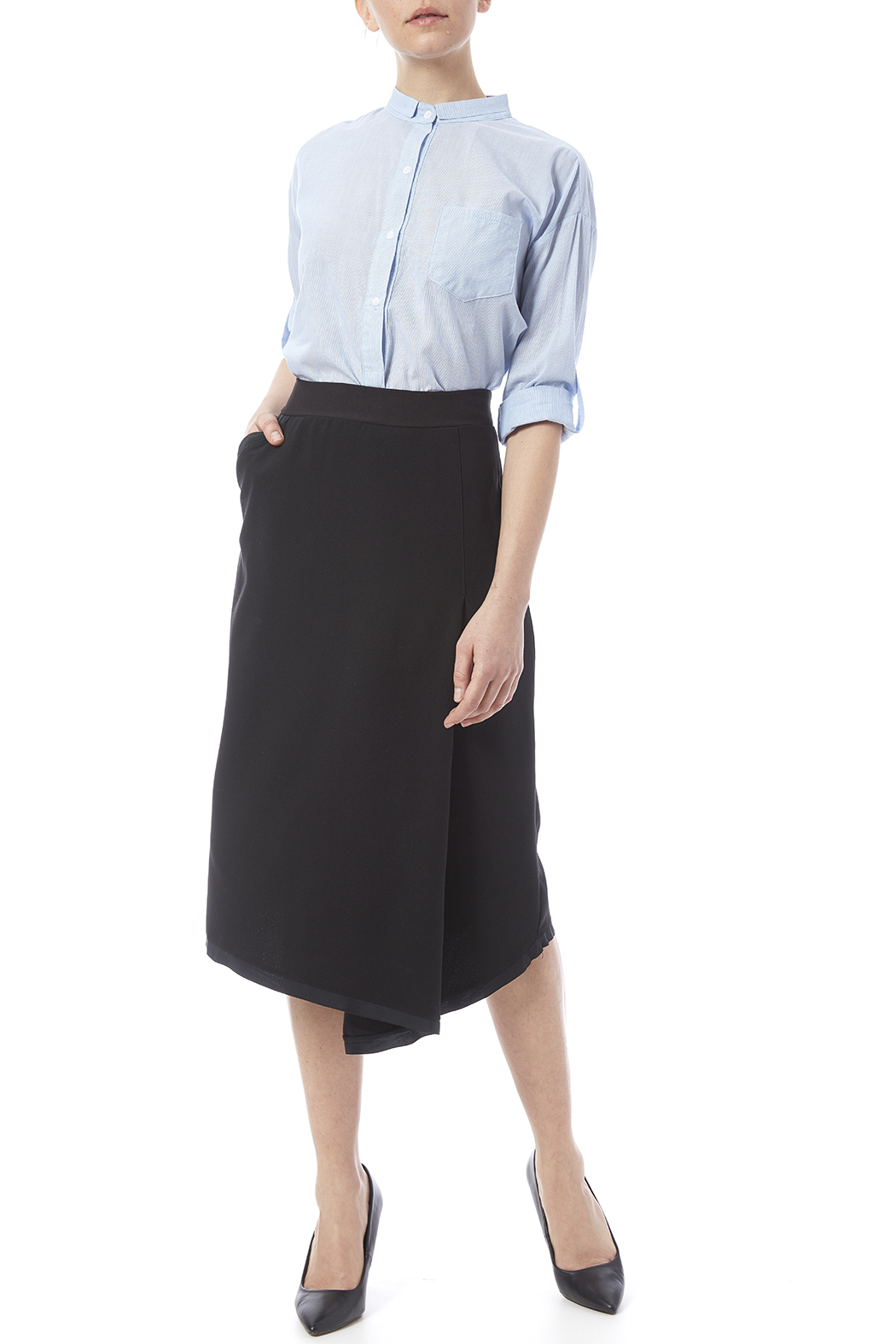 Neesh by D.A.R. Asymmetrical Midi Skirt - Front Full Image
