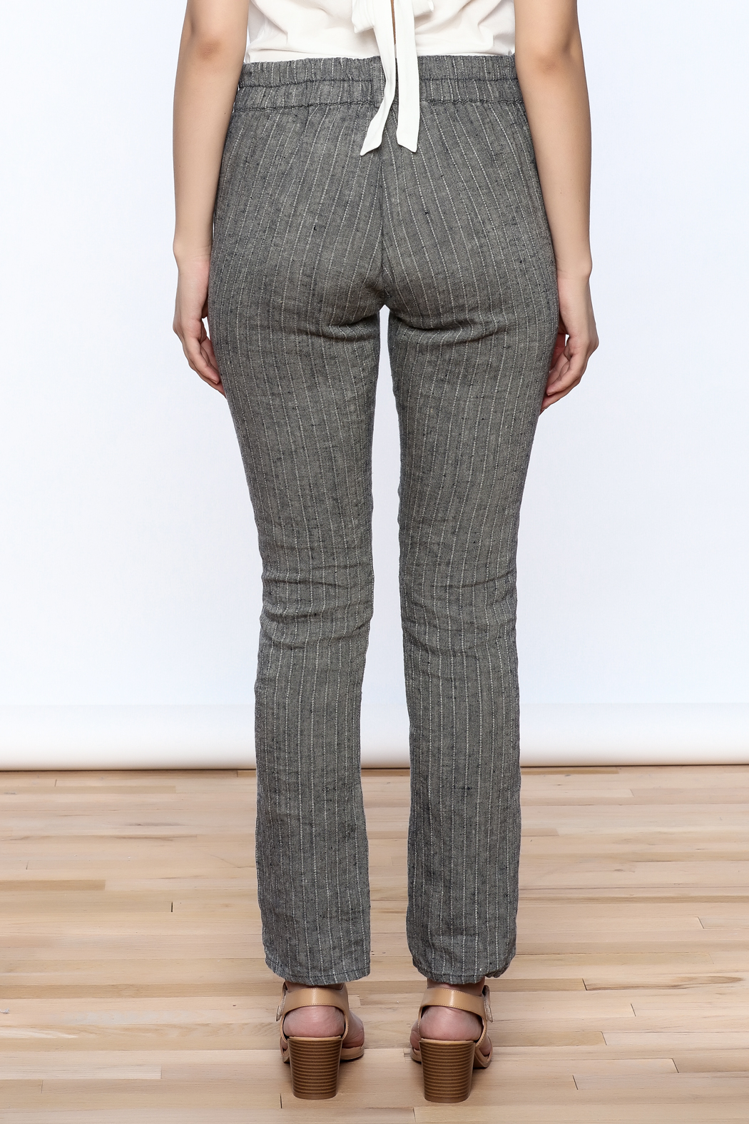Neesh by D.A.R. Pinstripe Linen Pants - Back Cropped Image