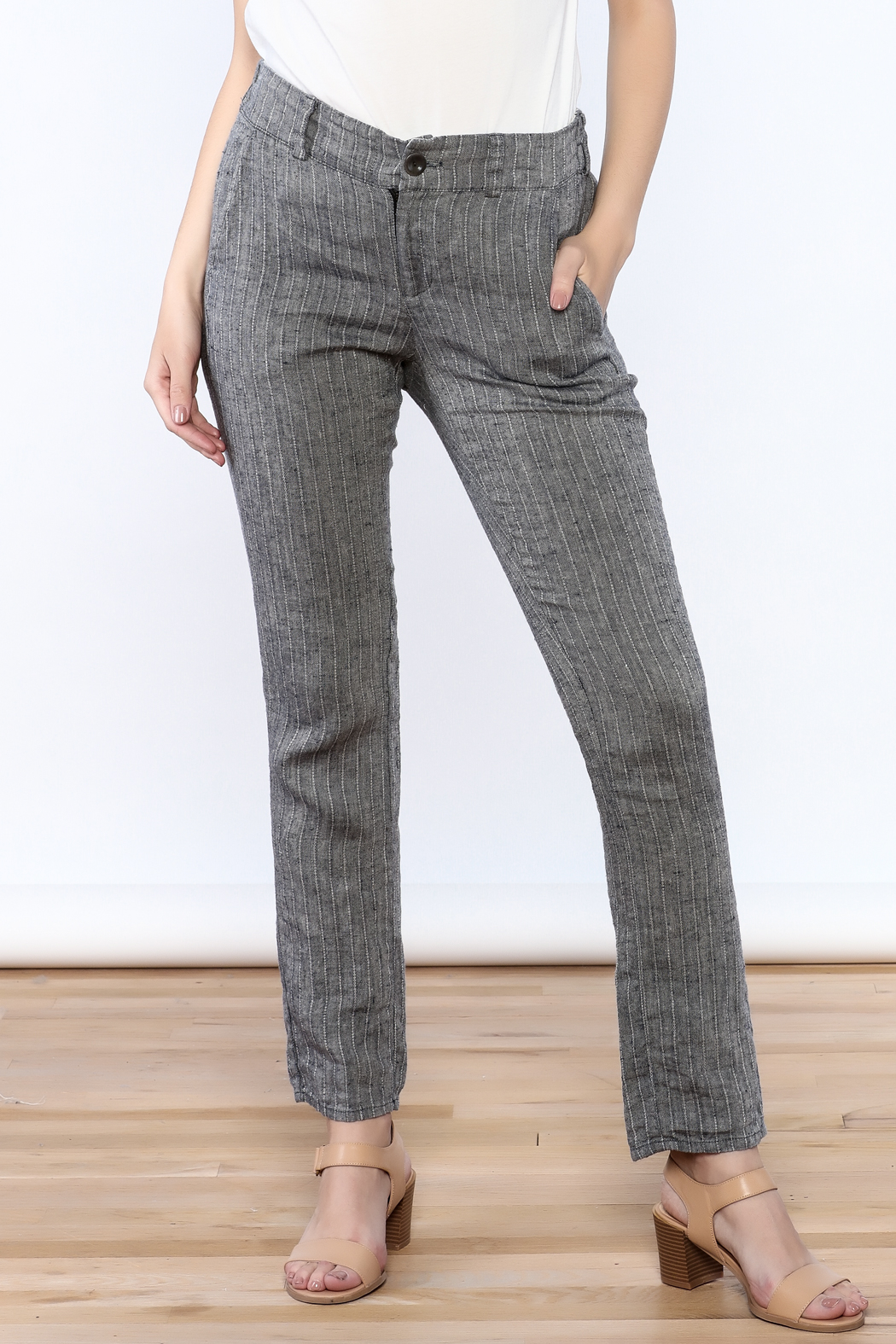 Neesh by D.A.R. Pinstripe Linen Pants - Main Image