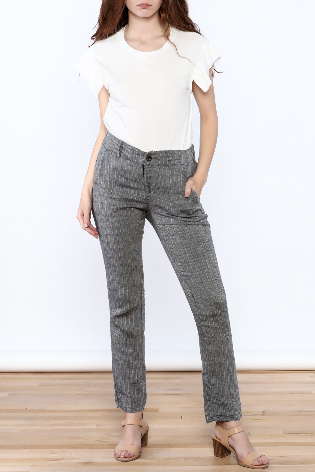 Neesh by D.A.R. Pinstripe Linen Pants - Front Full Image