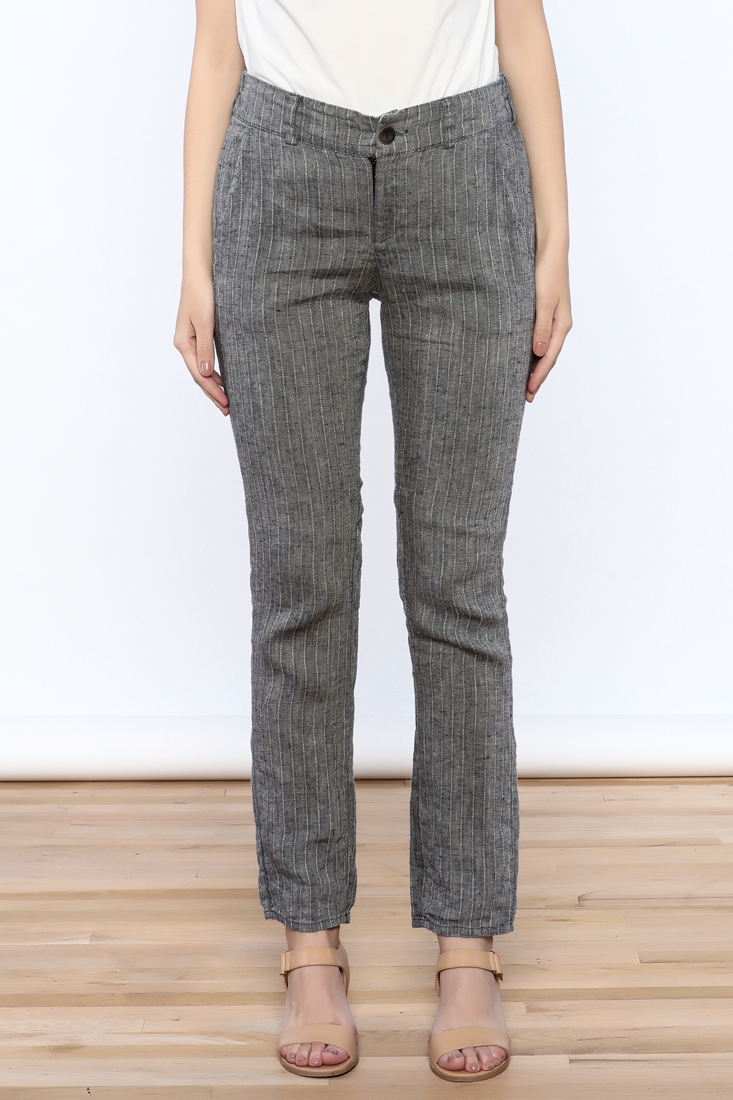 Neesh by D.A.R. Pinstripe Linen Pants - Side Cropped Image