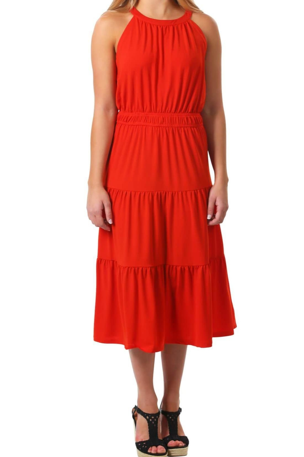 Neesha Tiered Midi Dress-Borange - Main Image