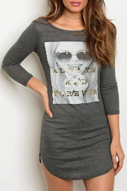 Nella Fantasia  Charcoal Graphic Tunic - Front cropped