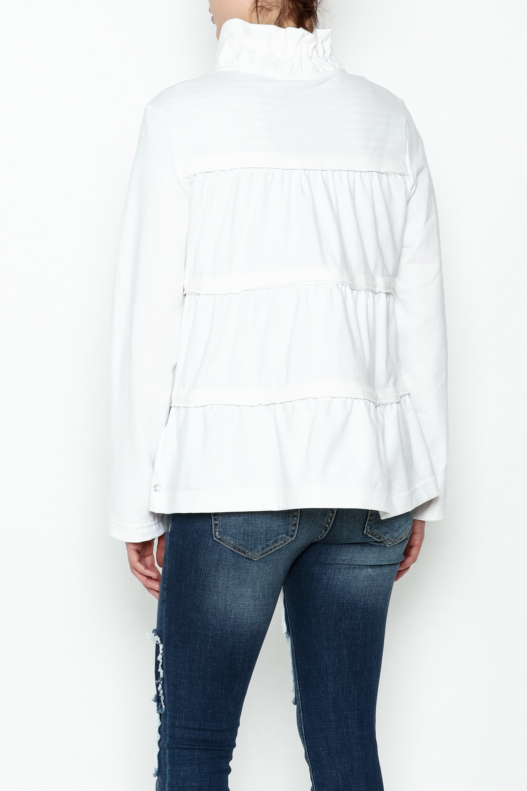 Neon Buddha White Ruffle Jacket - Back Cropped Image