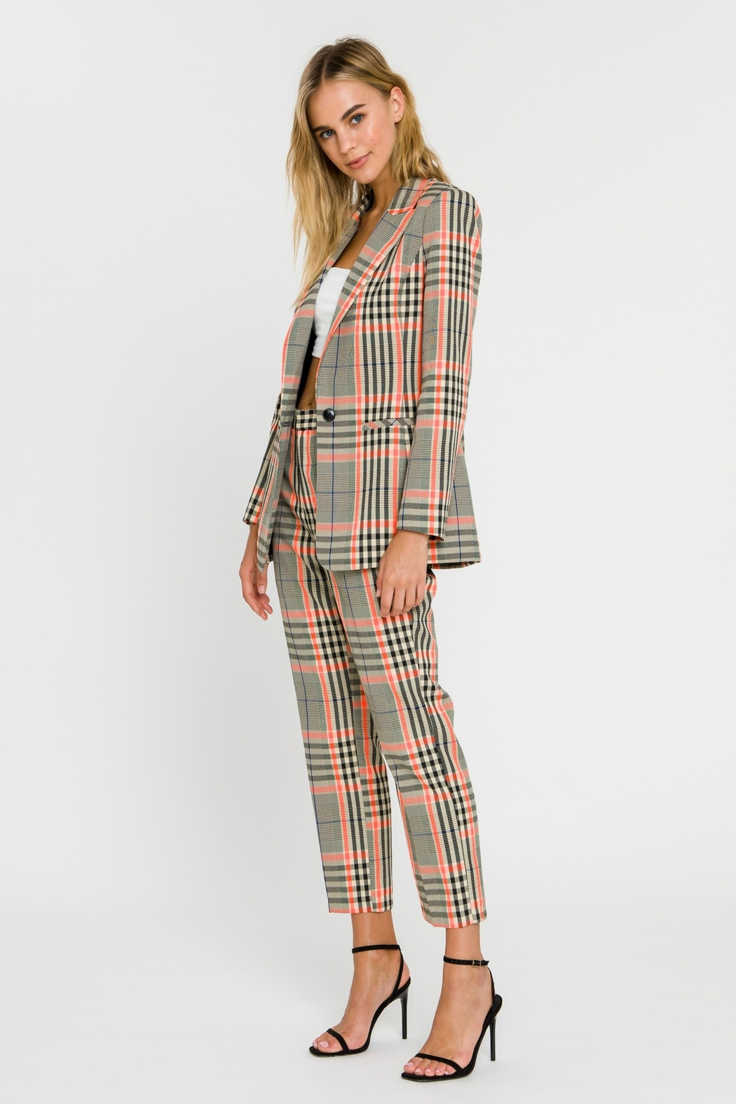 Grey Lab Neon Contrast Checker Blazer - Side Cropped Image
