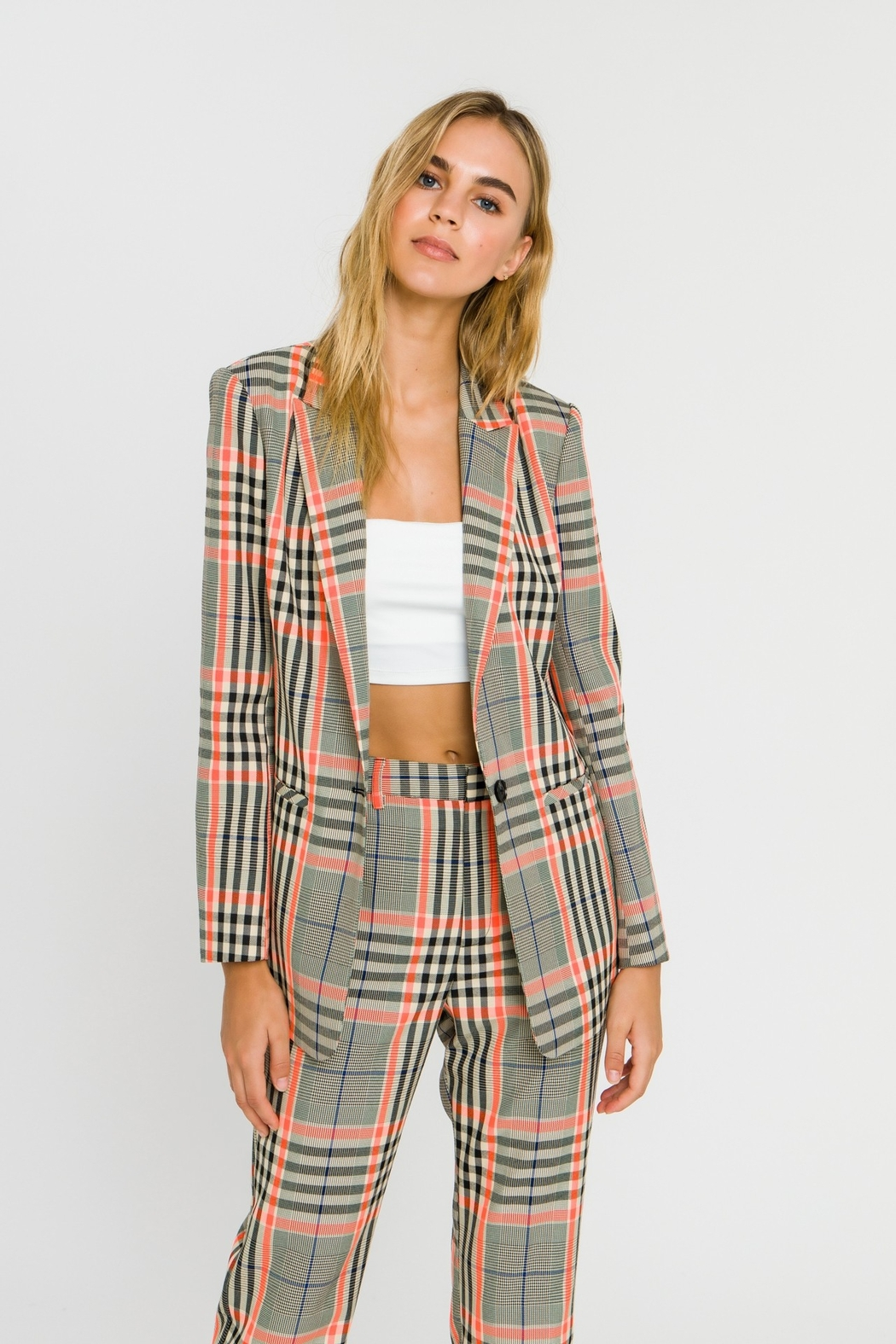 Grey Lab Neon Contrast Checker Blazer - Front Full Image