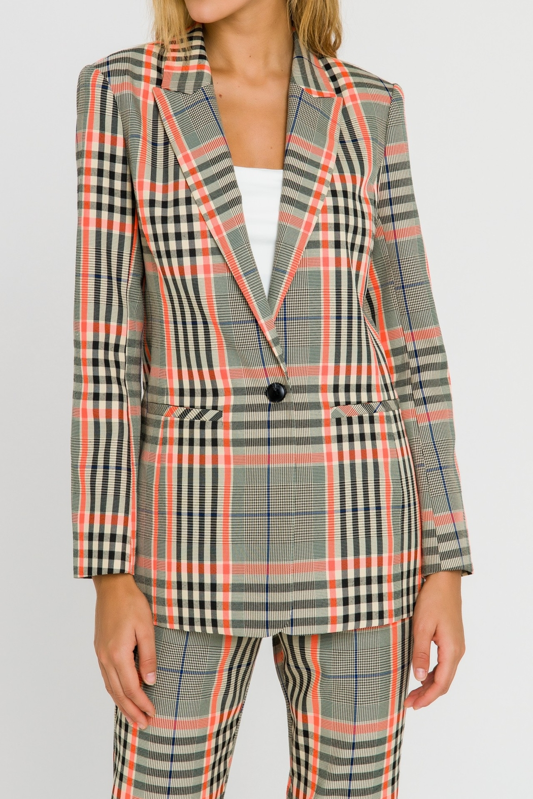 Grey Lab Neon Contrast Checker Blazer - Front Cropped Image