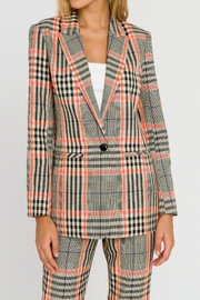 Grey Lab Neon Contrast Checker Blazer - Front cropped