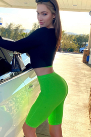 5Besties Neon Green Crop /Short Set - Front cropped