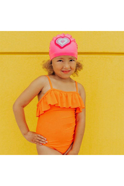 Bling2o Neon Heart Swim Cap - Front full body