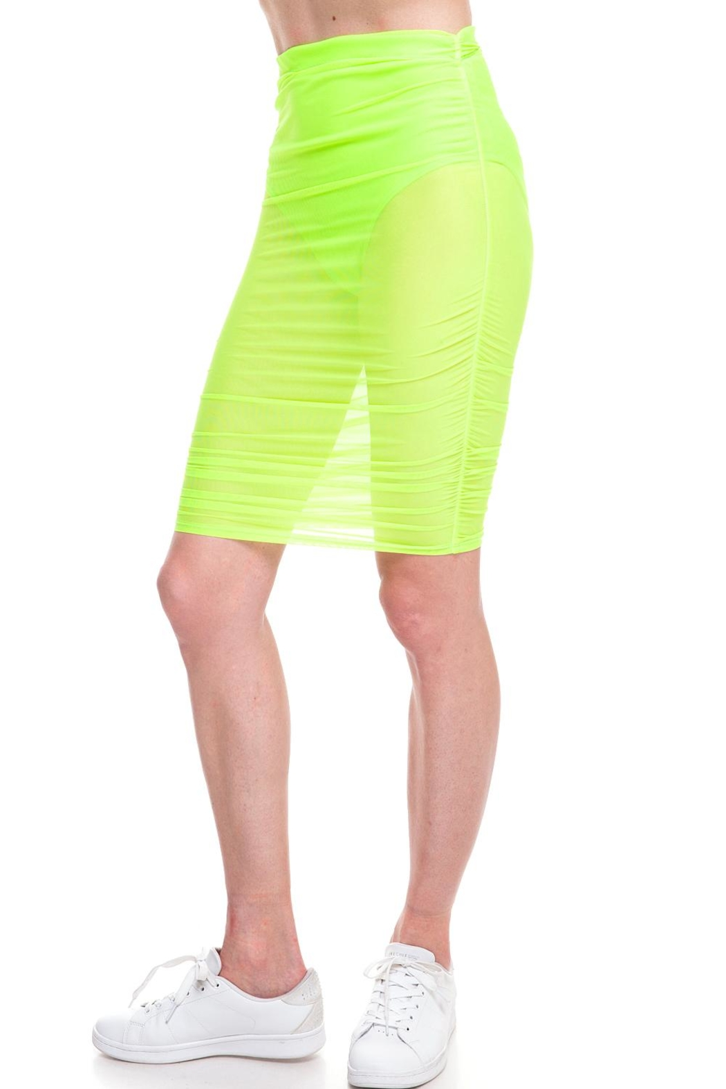 Cleo Neon Mesh Skirt - Side Cropped Image