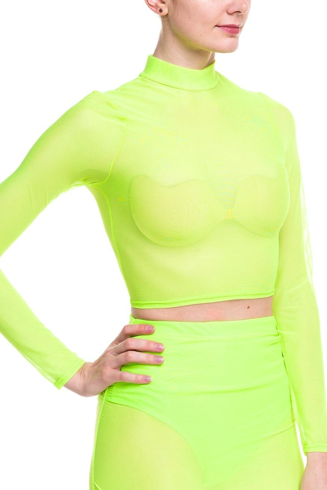 Cleo Neon Mesh Top - Back Cropped Image